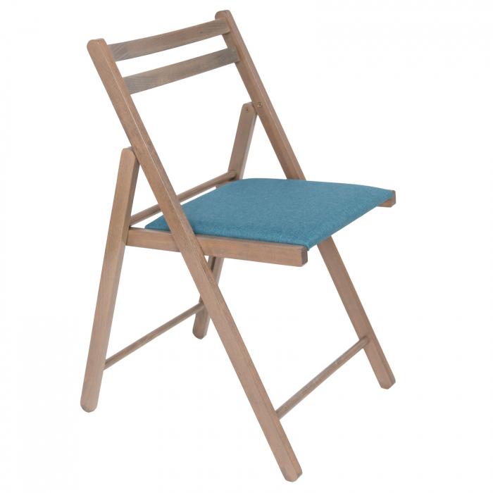 Scaun pliant din lemn IGOR tapitat maro-trufa [0]