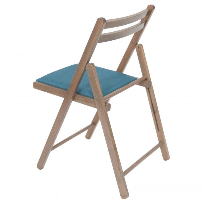 Scaun pliant din lemn IGOR tapitat maro-trufa [4]
