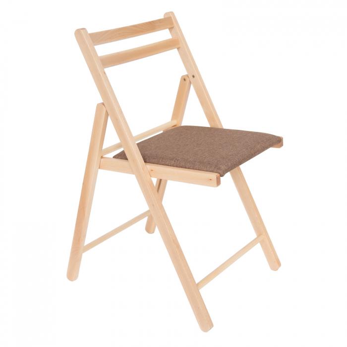 Scaun pliant din lemn IGOR tapitat natur [0]