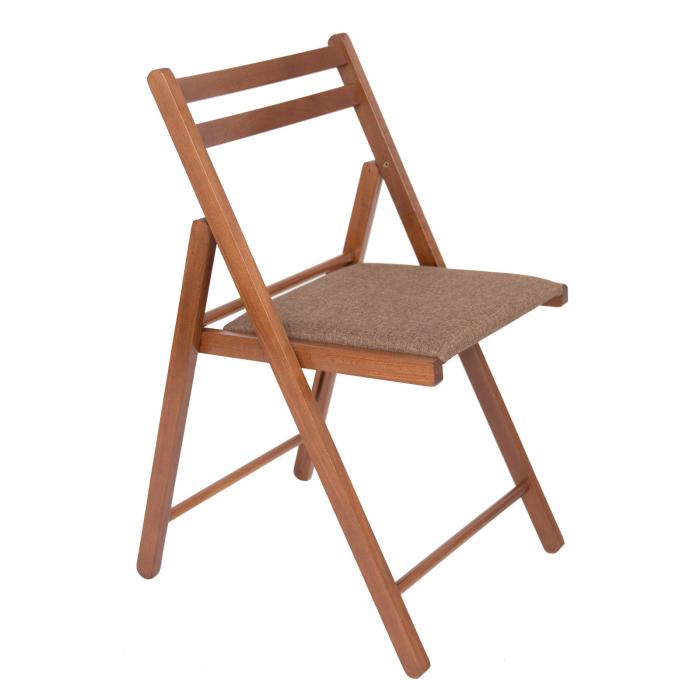 Scaun pliant din lemn IGOR tapitat nuc [0]