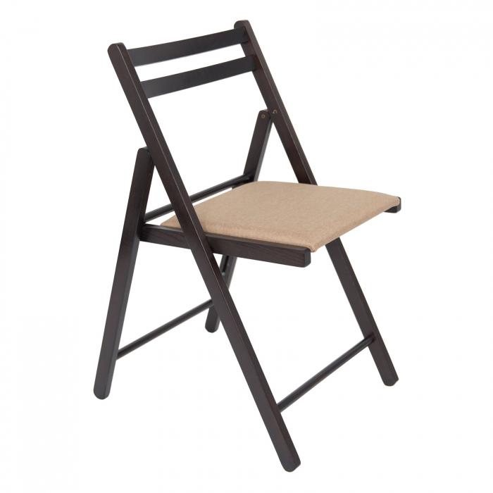 Scaun pliant din lemn IGOR tapitat wenge [0]