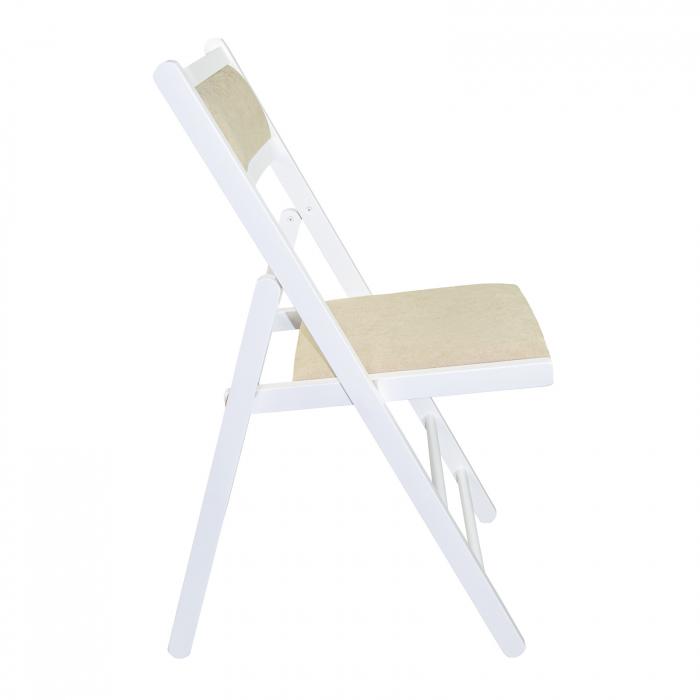 Scaun pliant din lemn Lori tapitat alb [1]
