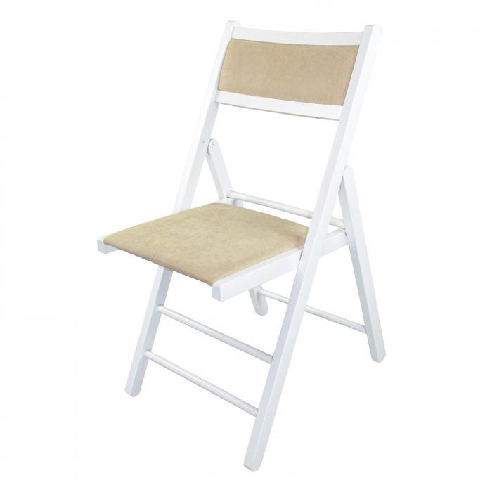 Scaun pliant din lemn Lori tapitat alb [5]