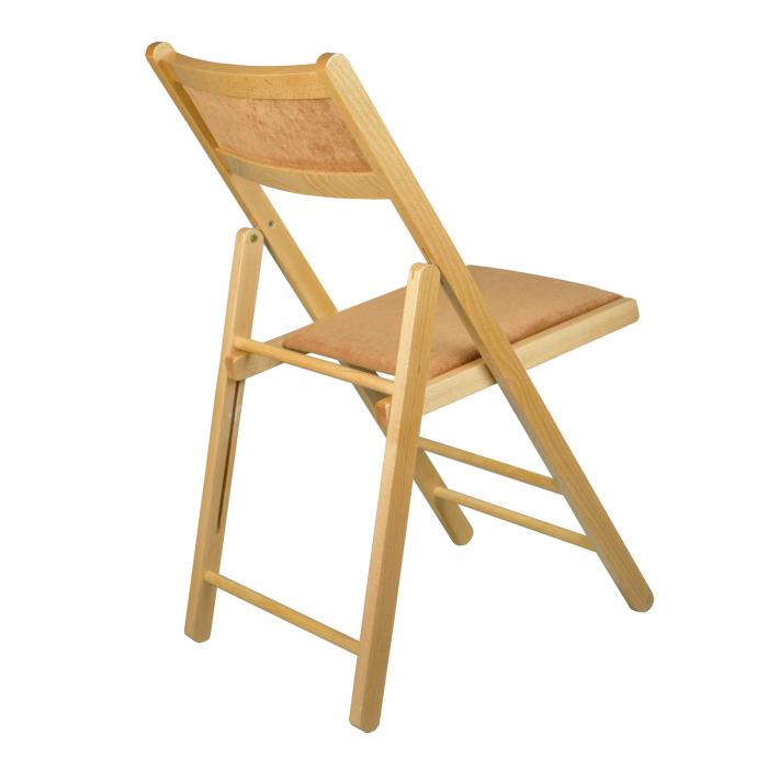Scaun pliant din lemn Lori tapitat natur [2]