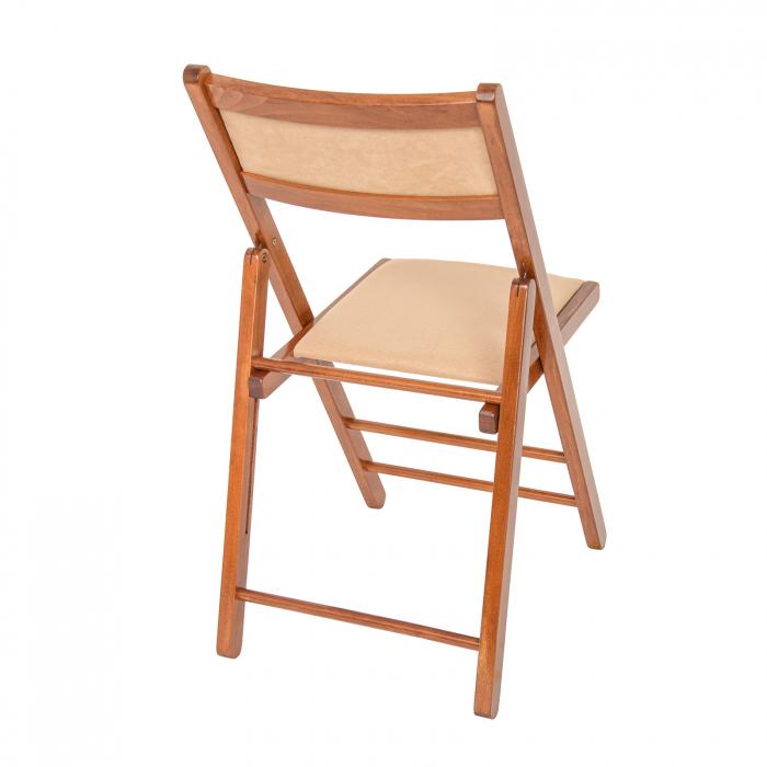 Scaun pliant din lemn Lori tapitat nuc [2]
