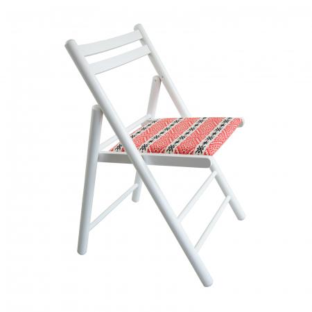 Scaun pliant din lemn Igor RO tapitat alb [0]