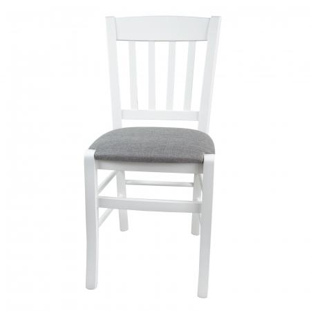 Scaun din lemn Madeira tapitat alb [6]
