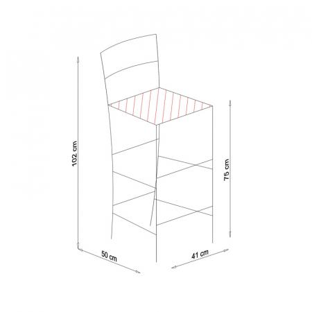 Scaun din lemn Venetia bar tapitat alb [4]