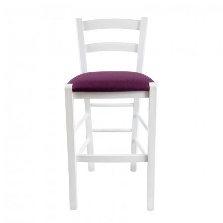 Scaun din lemn Venetia bar tapitat alb [3]