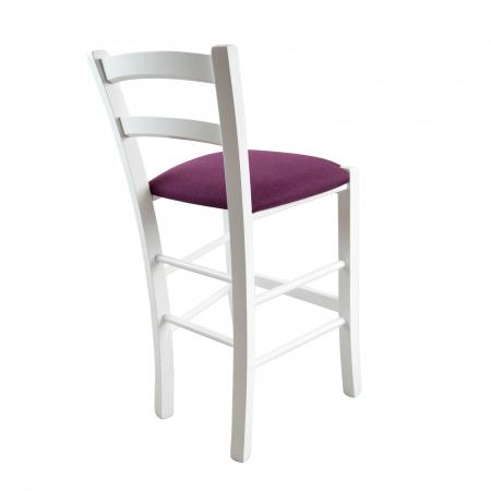 Scaun din lemn Venetia bar tapitat alb [1]