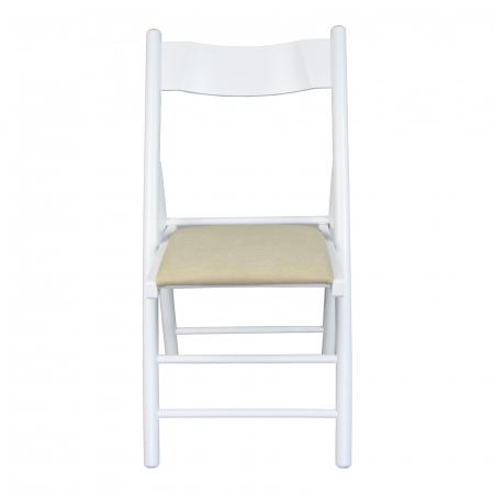 Scaun pliant din lemn Caprice tapitat alb [3]
