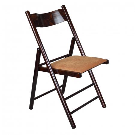 Scaun pliant din lemn Caprice tapitat nuc ciocolata [0]