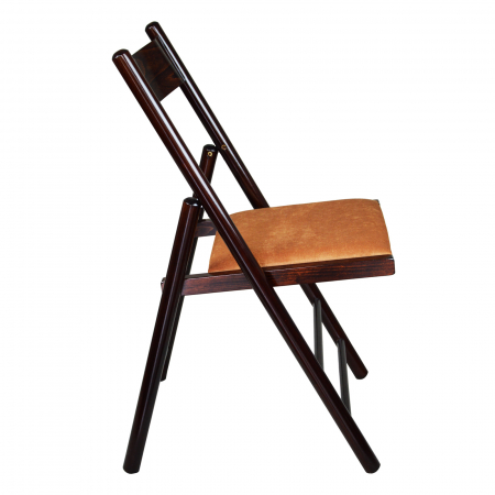 Scaun pliant din lemn Caprice tapitat nuc ciocolata [1]