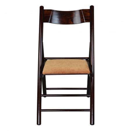 Scaun pliant din lemn Caprice tapitat nuc ciocolata [4]
