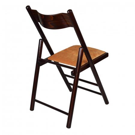 Scaun pliant din lemn Caprice tapitat nuc ciocolata [2]