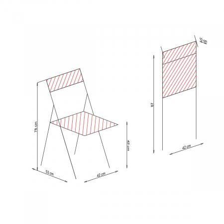 Scaun pliant din lemn IGOR albastru [5]