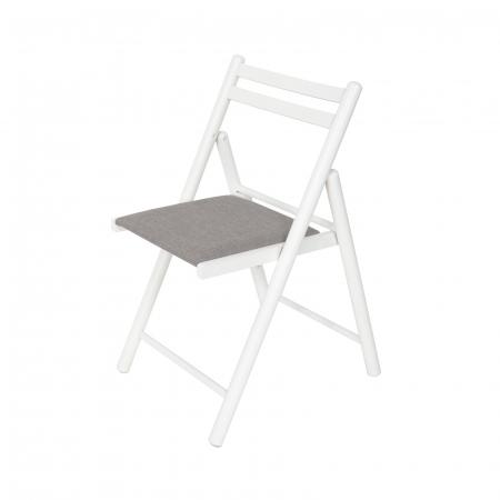 Scaun pliant din lemn IGOR R tapitat alb [4]