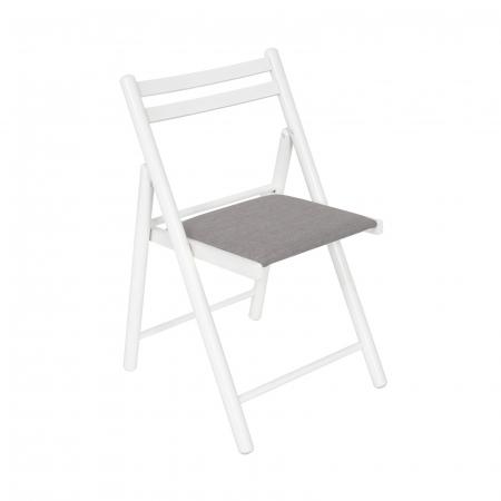 Scaun pliant din lemn IGOR R tapitat alb [0]