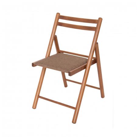 Scaun pliant din lemn IGOR R tapitat nuc [4]