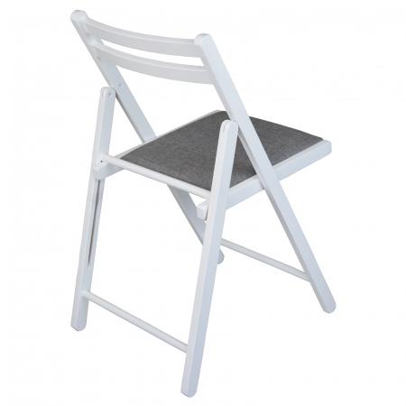 Scaun pliant din lemn IGOR tapitat alb [2]