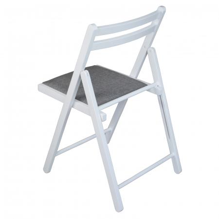 Scaun pliant din lemn IGOR tapitat alb [4]