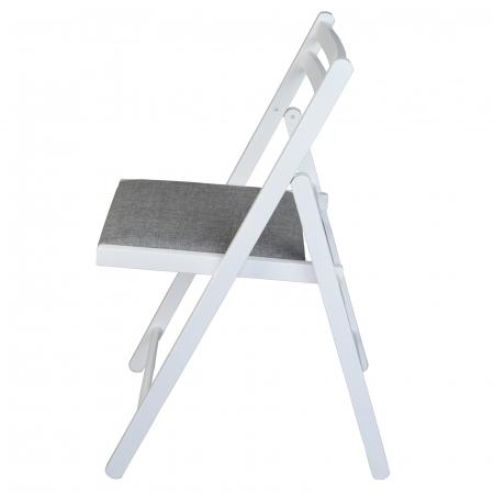 Scaun pliant din lemn IGOR tapitat alb [5]