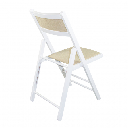 Scaun pliant din lemn Lori tapitat alb [2]