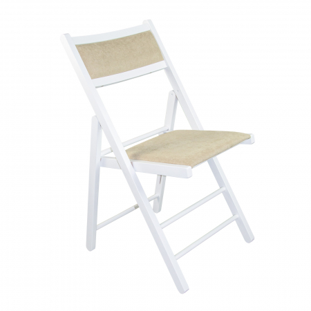 Scaun pliant din lemn Lori tapitat alb [0]