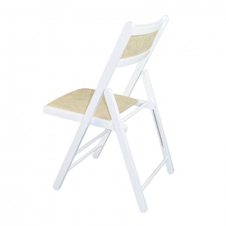 Scaun pliant din lemn Lori tapitat alb [4]