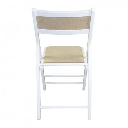 Scaun pliant din lemn Lori tapitat alb [3]