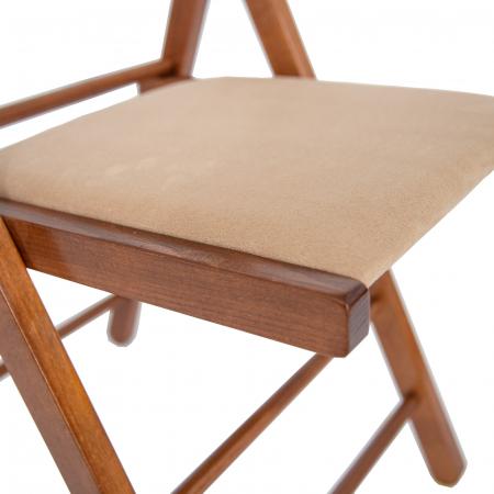Scaun pliant din lemn Lori tapitat nuc [4]