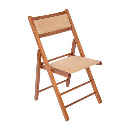 Scaun pliant din lemn Lori tapitat nuc [0]