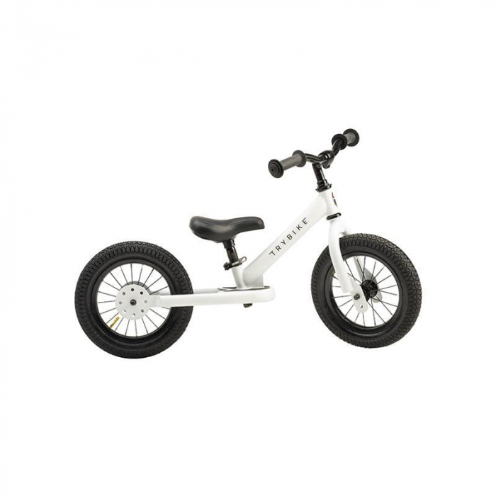 Bicicleta fara pedale 2 in 1 tricicleta copii, alb mat, Trybike [0]