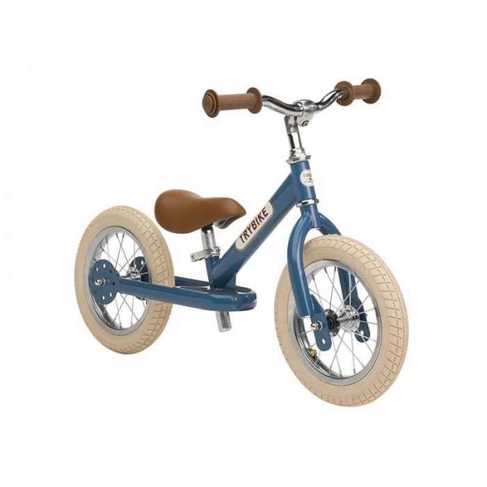Bicicleta fara pedale vintage 2 in 1 tricicleta copii, albastru, Trybike [1]