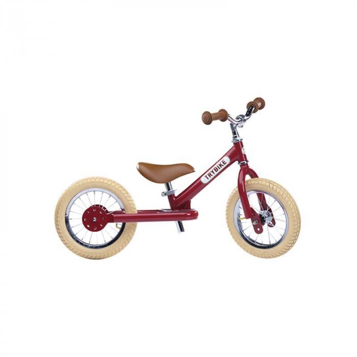 Bicicleta fara pedale vintage 2 in 1 tricicleta copii, rosu, Trybike [0]