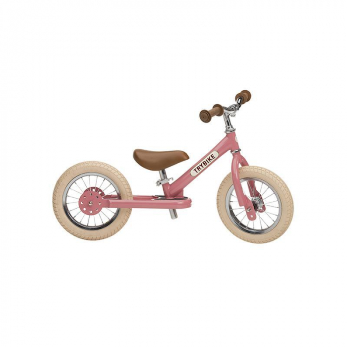 Bicicleta fara pedale vintage 2 in 1 tricicleta copii, roz, Trybike [1]
