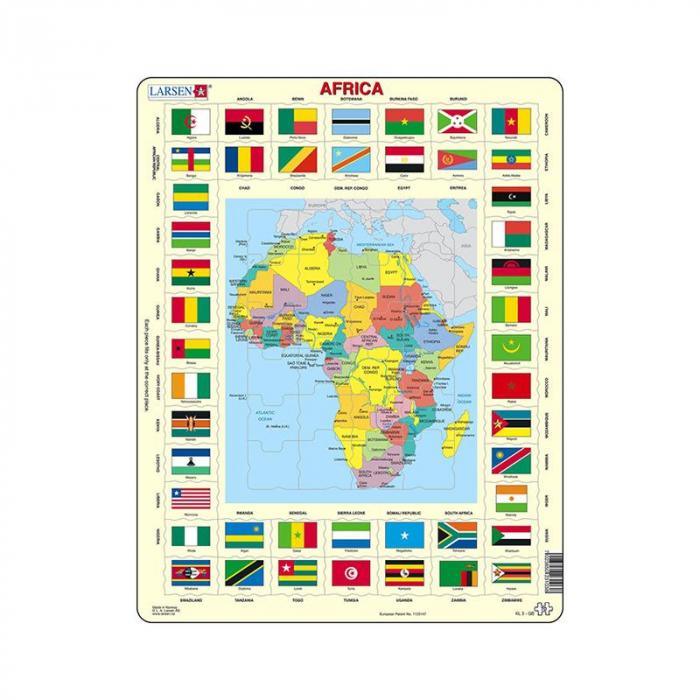 Puzzle maxi Africa cu steaguri (limba engleza), orientare tip vedere, 70 de piese, Larsen [0]
