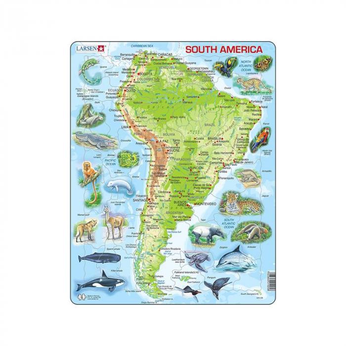 Puzzle maxi America de Sud, orientare tip portret, 65 de piese, Larsen [0]