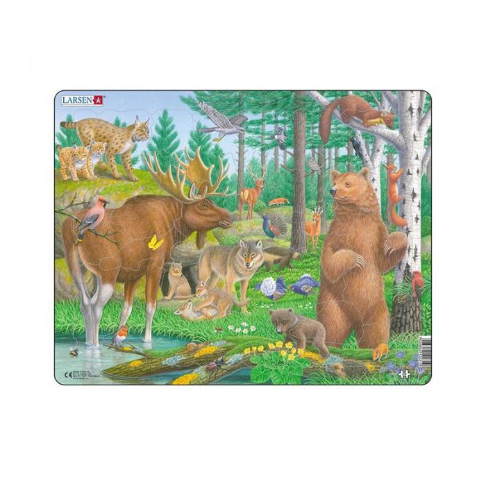 Puzzle maxi Animale din padure, orientare tip vedere, 29 de piese, Larsen [0]