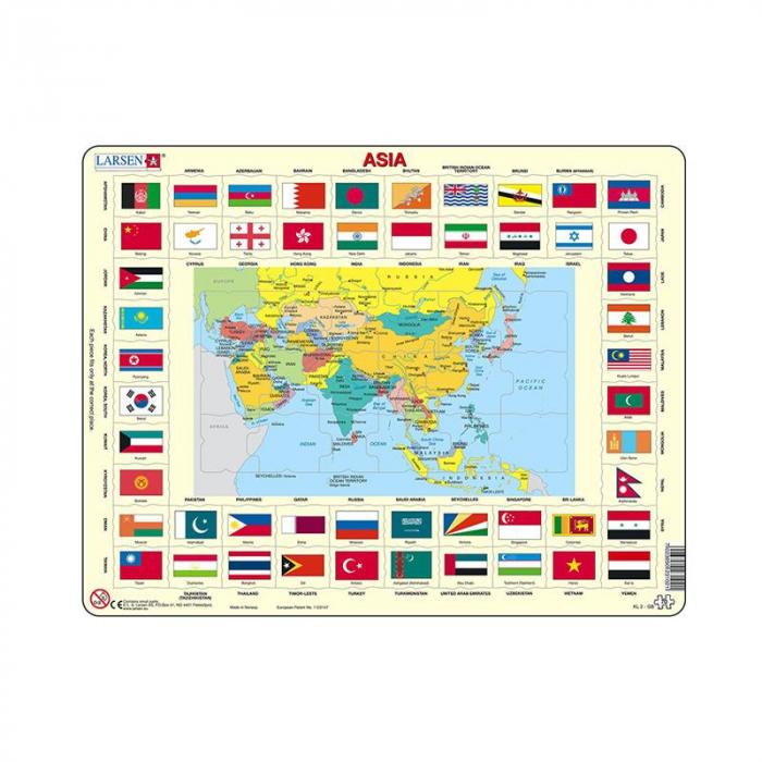 Puzzle maxi Asia cu steaguri (limba engleza), orientare tip vedere, 70 de piese, Larsen [0]