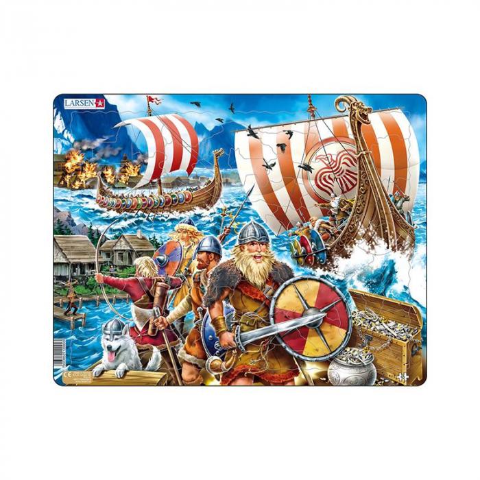 Puzzle maxi Atacul vikingilor, orientare tip vedere, 65 de piese, Larsen [0]