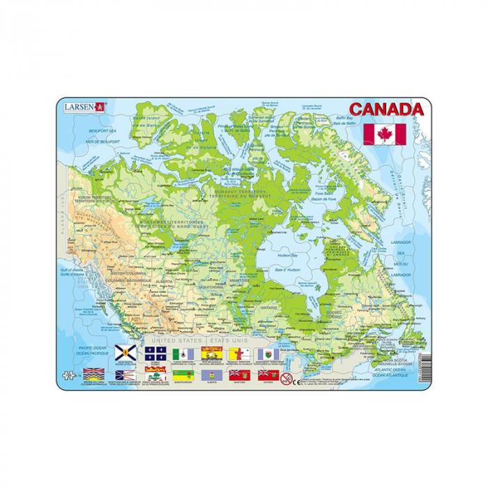 Puzzle maxi Canada, orientare tip vedere, 100 de piese, Larsen [0]