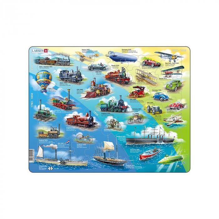 Puzzle maxi cu mijloace de transport istorice, orientare tip vedere, 54 de piese, Larsen [0]