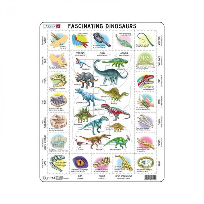 Puzzle maxi Dinozauri fascinanti, orientare tip vedere, 35 de piese, Larsen [0]