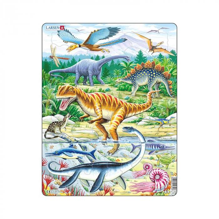 Puzzle maxi Dinozauri, orientare tip portret,  35 de piese, Larsen [0]