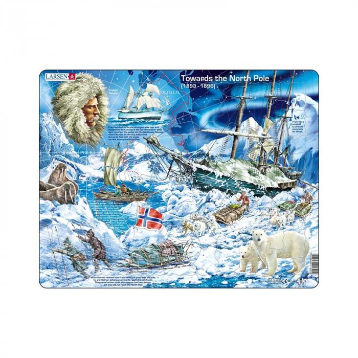Puzzle maxi Fram, ursul polar - o calatorie catre Polul Nord, orientare tip vedere, 65 de piese, Larsen [0]