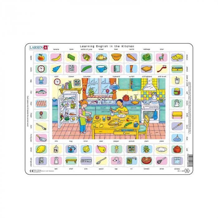 Puzzle maxi Hai sa invatam engleza in bucatarie, orientare tip vedere, 70 de piese, Larsen [0]