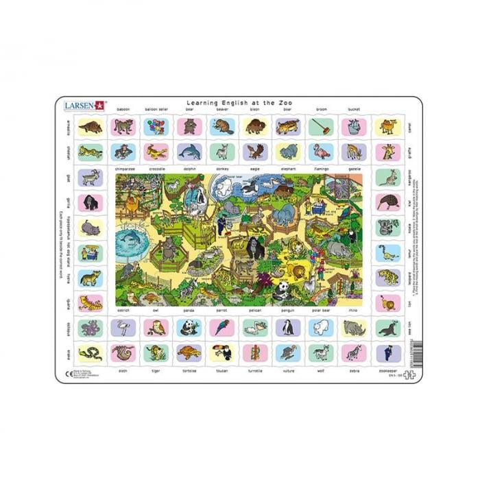Puzzle maxi Hai sa invatam engleza la gradina zoologica, orientare tip vedere, 70 de piese, Larsen [0]