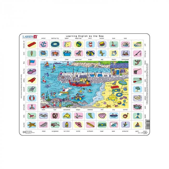 Puzzle maxi Hai sa invatam engleza la mare, orientare tip vedere, 70 de piese, Larsen [0]