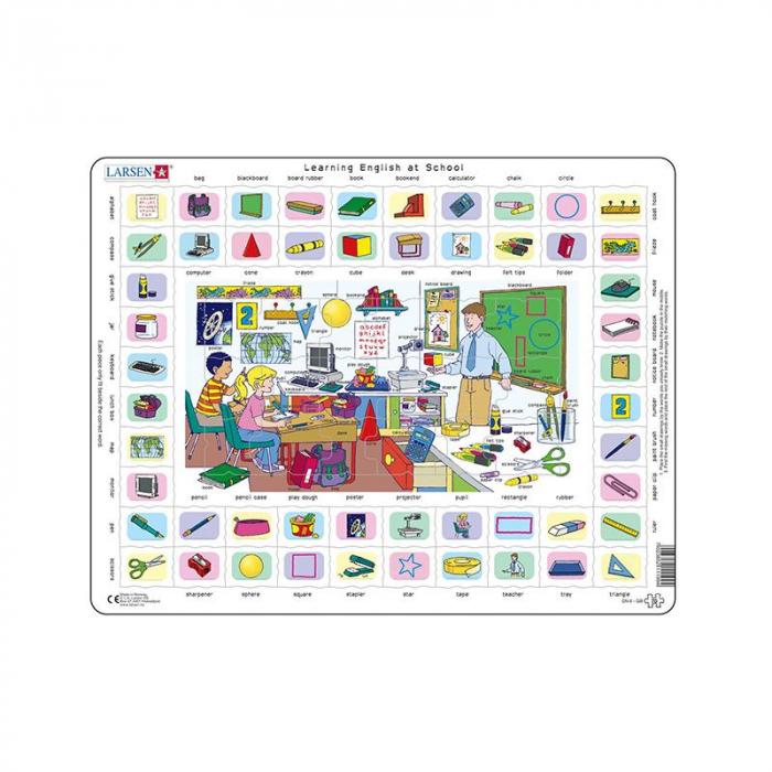 Puzzle maxi Hai sa invatam engleza la scoala, orientare tip vedere, 70 de piese, Larsen [0]